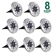 #LightningDeal Solar Ground Lights,8 LED Garden Lights Waterproof Patio Outdoor Light with Light Sensor for Lawn,Pathway,Yard,Driveway,Step and Walkway (8 Pack White)