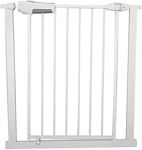 Huo Baby Gate White Iron Indoor Safety Gate Extra Wide and Tall Baby Gate Pressure Mounted Adjustable Puppy Pet Playpen for Stair Door Size 118-124cm