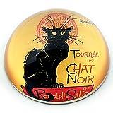 Black Cat Le Chat Noir Glass Paris Paperweight by Steinlen