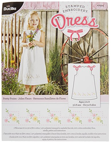 Bucilla Stamped Embroidery Dress Kit, 20 by 30-Inch, 47694 Pretty Posies