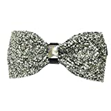 AINOW Mens Crystal Shining Luxury Pre-Tied Bow Tie Rhinestone Bowties (White Crystal)