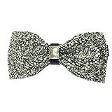 AINOW Mens Crystal Shining Luxury Pre-Tied Bow Tie Rhinestone Bowties (White Crystal)