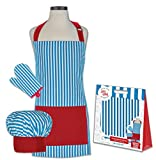 Handstand Kitchen Child's Whimsey Stripe 100% Cotton Apron, Mitt and Chef's Hat Gift Set