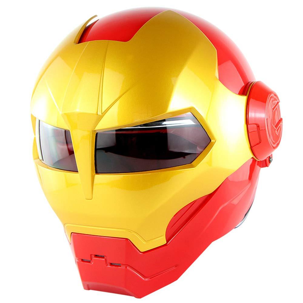 Casco de Moto Cool Man Iron,Marvel Adulto Motocicleta Motocicleta Delantera Solapa Cara Completa Casco,Casco Homologado Dot Cuatro Estaciones Universal,M:57~58cm
