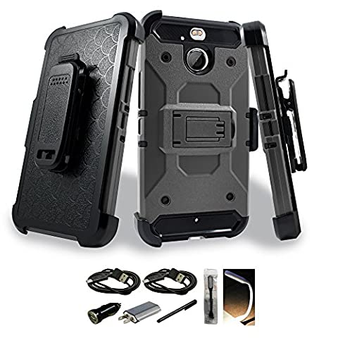 HTC Bolt Case, Mstechcorp with Accessories Rugged Heavy Duty Case Cover w/Holster Belt Clip for HTC Bolt (Affinity Technology Speakers)