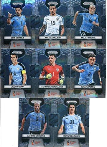 2018 Panini Prizm World Cup Soccer Uruguay Team Set of 8 Cards: Edinson Cavani(#209), Carlos Sanchez(#210), Diego Godin(#211), Fernando Muslera(#212), Jose Gimenez(#213), Luis Suarez(#214), Matias Vecino(#215), Maxi Pereira(#216)