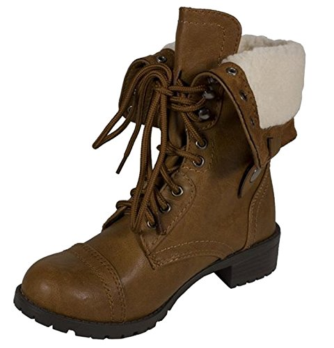 Soda Women's Oralee Military Boot,7 B(M) US,Tan Fuzzy Lining
