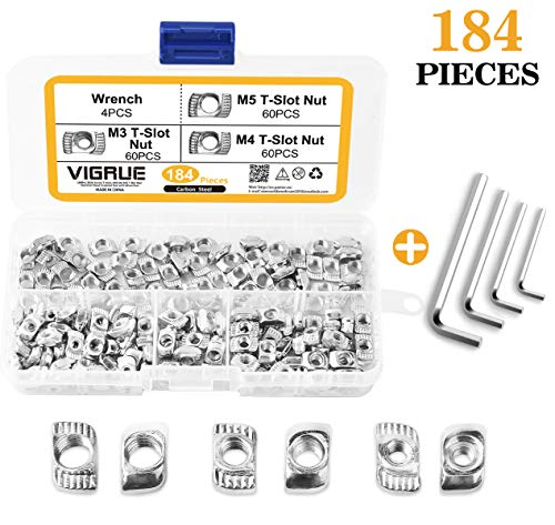 VIGRUE 180Pcs 2020 Series T Nuts, M3 M4 M5 T Slot Nut Hammer Head Fastener Nut Nickel Plated Carbon Steel with 4 Matching Wrenches for Aluminum Profile