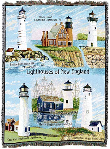 Boston Harbor Lighthouse - Pure Country Weavers   Lighthouses of New England Woven Tapestry Throw Blanket Collector Gift with Fringe Cotton USA 72x54