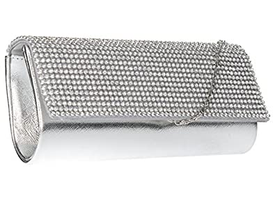 Image Unavailable. Image not available for. Colour  New SILVER CRYSTAL  DIAMANTES EVENING CLUTCH WEDDING BAG e086480fbc086