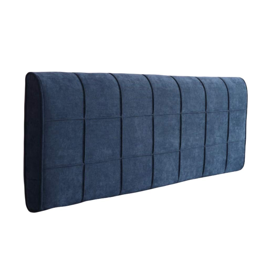 BZXLKD01 King Size Headboard Cushion Chenille Upholstered Headboard Wedge Cushion,Sofa Bed Pillow Cushion Bed Rest Reading Pillow Backrest Positioning Support (Color : Navy Blue, Size : 180cm/70.8in) by BZXLKD01