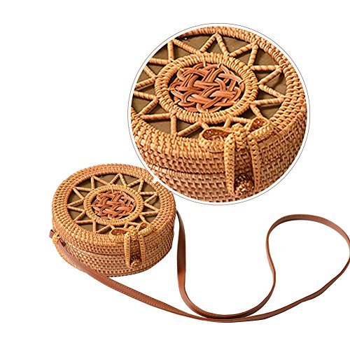 Rattan Shoulder Bag nbsp;Weaving for Beach Big Straps Leather Flower Retro Crossbody Bag Equinox Handwoven Bag nbsp;Pattern Rattan Women Round time Hollow wwHFaqR8