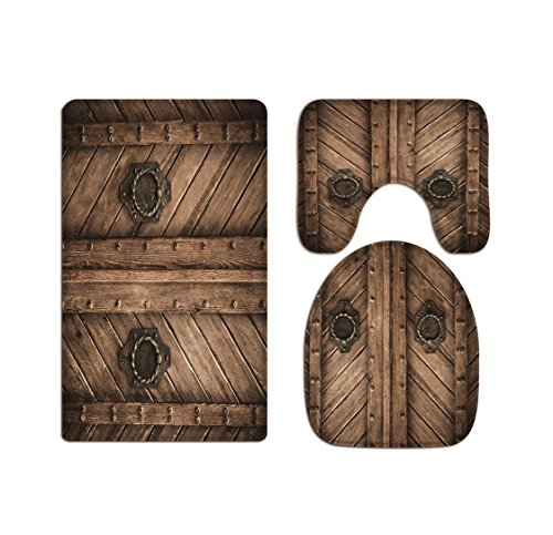 A.Monamour Vintage Rustic Western Country Wooden Barn Door Picture Printed Soft Flannel Cloth Washable Toilet Seat Covers Toilet Lid Covers Cushions Pads Skidproof Bath Mat Rug for Toilet Accessories