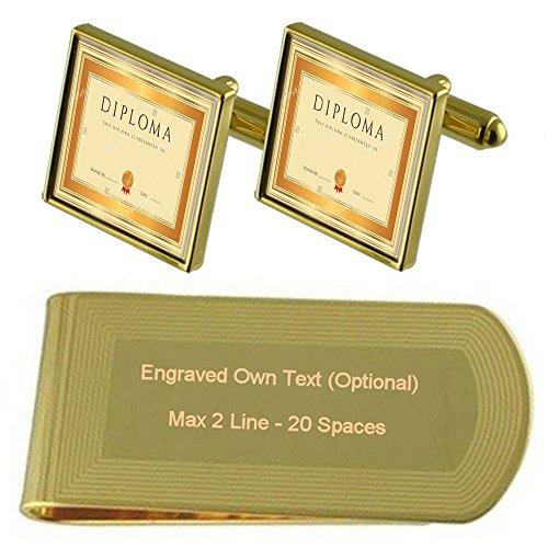 Set Certificado Regalo Gemelos En Diploma Concesión De Grabado Clip Dinero Dorado Tono zwa1daFq