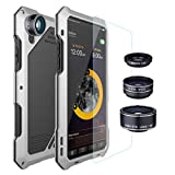 Mchoice Shockproof Aluminum Glass Flim Leather Back Metal Case Cover For iPhone X (Silver)