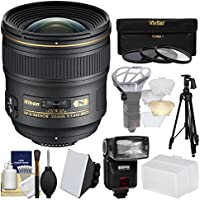 Nikon 24mm f/1.4 G AF-S Nikkor Lens with iTTL Flash + Diffuser + Tripod + 3 Filters Kit for D3200, D3300, D5300, D5500, D7100, D7200, D610, D750, D810, D4s Camera