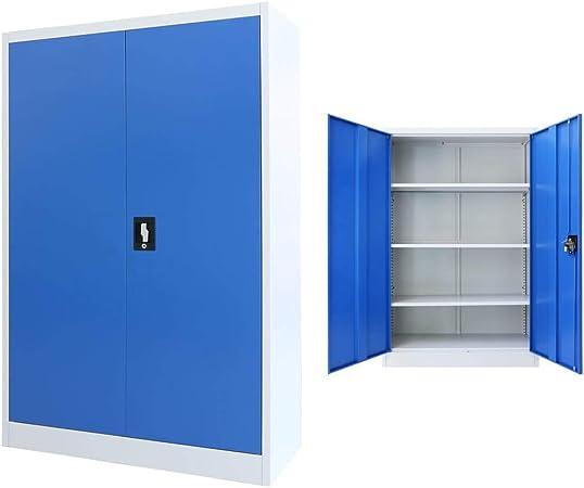 vidaXL Armadio Ufficio in Metallo 90x40x140 cm Grigio e Blu Schedario Ufficio