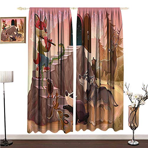 Anshesix Simple Curtain Animal Fairytale Theme a Fox is Playing The Flute Deer Snake Beer Wolf and Squirrel Print W108 xL84 Non-Toxic Curtain