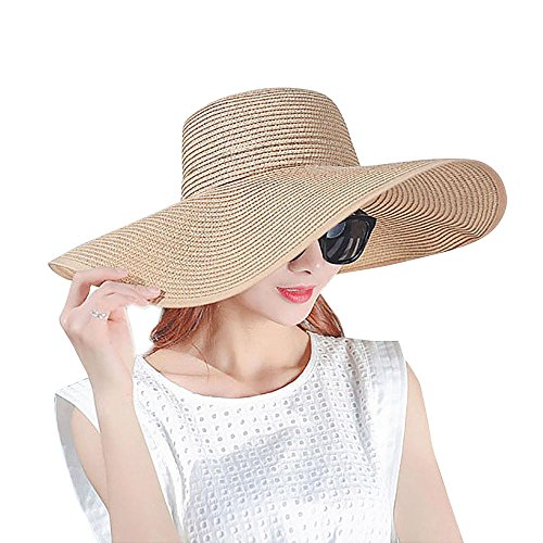 NANOOER Women Foldable Floppy Wide Large Brim Sun Hats Derby Cap Beach Straw Hat, (Straw Derby)