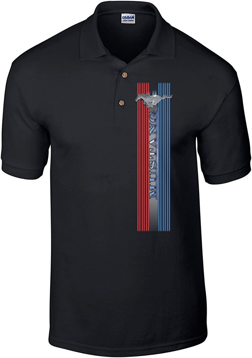 Ford Mustang Stripes Polo Shirt Black