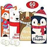 60Pcs Christmas Money Cards Gift Card Holders 4 Festival Animal Designs Including 20 Cards & 20 Envelopes & 20 Stickers