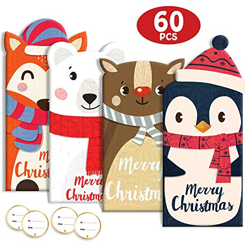 60Pcs Christmas Gift Card Money Holder Holiday Favors Holographic Designs 20 Cards 20 Envelopes 20 Stickers (Card Christmas Wishes)