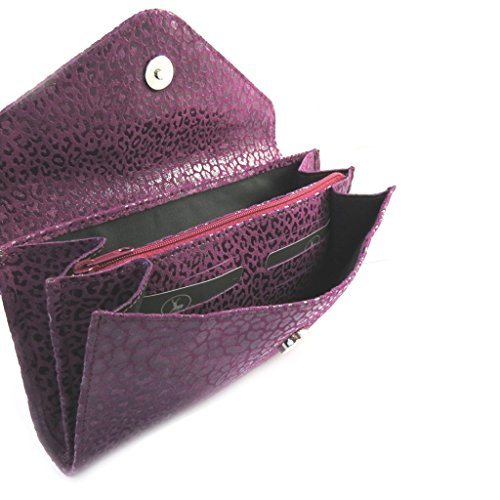 Frandi [M3582] - Sac pochette cuir 'Frandi' violet (2 soufflets) Léopard