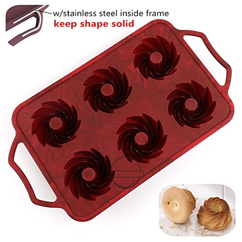 KuXun 6-Cavity Silicone Fancy Bundt Cake, Muffin, Cupcake, Brownie and Cornbread Mold with Handles, Steel Frame to Anti-deformed, Cool Spiral Shape, Non-stick Mini Fluted Tube Cake, FDA Approved -