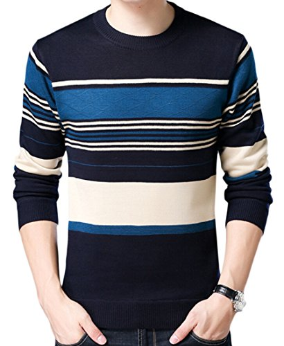 Neck M Jumper Long amp;W Stripe Round Sleeve 8 Sweater Knit Men's amp;S grgxYO