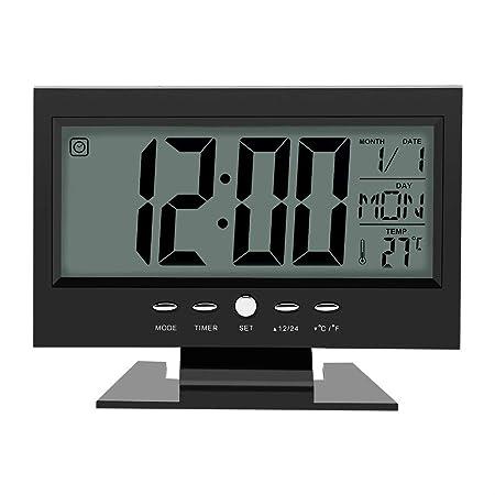 Multifunción Control de sonido Gran pantalla LCD digital reloj ...