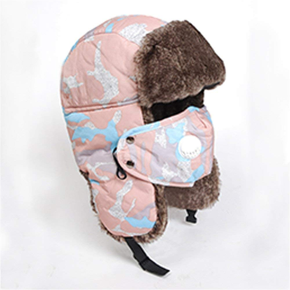 Thundertechs The Girlfriend Boyfriend Winter hat Cap and Thick Warm Warm Cotton hat Windproof Earmuffs Bicycle Cap (Color : Camouflage Pink, Size : M)