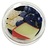 Peggy Karr Handcrafted Art Glass Round Wine and Cheese Plate, 6-Inch, Multicolor