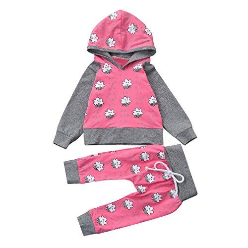 Babykleidung Babymode Babyklamotten Longra Baby Mädchen Jungen kapuzenpullover Tops und Lang Hose 2 stücke günstige Neugeborene Kleidung Coole Babykleidung Pink