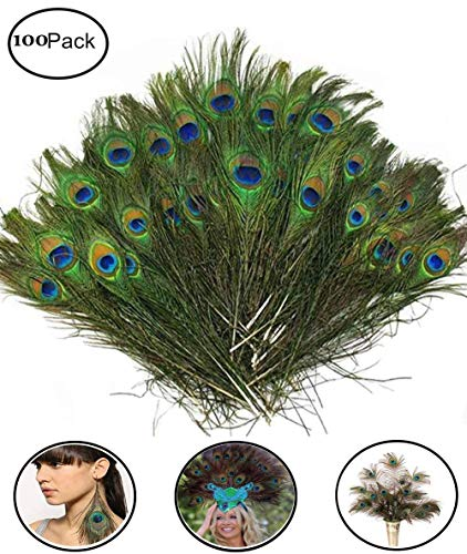 Fashionclubs 100pcs Christmas Decor Natural Peacock Tail Eyes Feathers 8