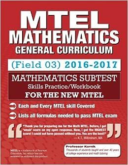 com mtel mathematics skills practice general curriculum  com mtel mathematics skills practice general curriculum 03 subtest 9781502467362 professor karnik books