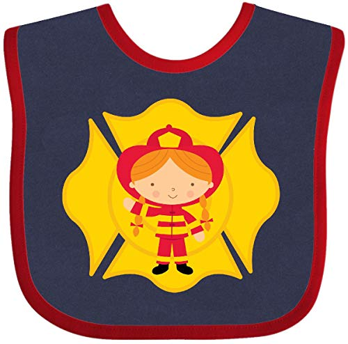 Inktastic - Fire Girl Future Firefighter Baby Bib Navy and Red - Baby Bib Firefighter Future