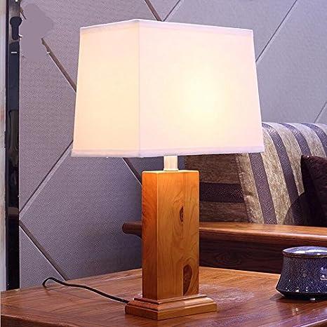 brilife lámpara de mesa de madera E27 para madera de tejado ...