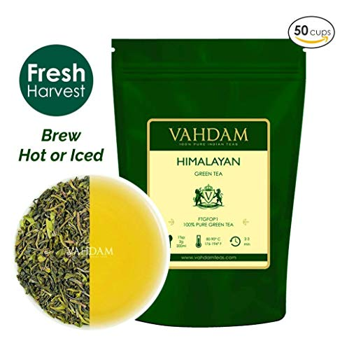 VAHDAM, Green Tea Leaves from Himalayas (50 Cups), 100% Natural Tea, POWERFUL ANTI-OXIDANTS, Brew Hot Tea, Iced Tea or Kombucha Tea, Green Tea Loose Leaf, 3.53oz