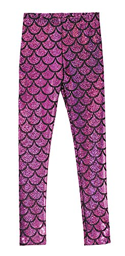 City Threads Girls Leggings Metallic Mermaid Print Shiny Colorful Fun Ankle Length for Style Fashion Parties Pop of Color, Mermaid Sparkle Pink, 4T -