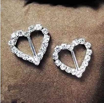 Image Unavailable. Image not available for. Colour  50pcs Heart Rhinestone  Buckles Ribbon Sliders Diamante Table Wedding Decoration 8ec62ca0a03c