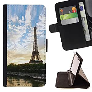 Momo Phone Case / Flip Funda de Cuero Case Cover - Paris Tour Eiffel;;;;;;;; - Samsung Galaxy J1 J100