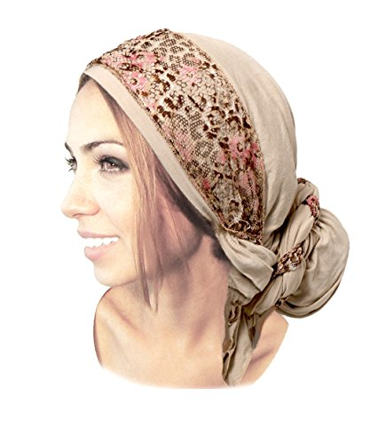 Boho Chic Beige Head-scarf Tichel Embellished with Fancy Pink Floral Lace (Beige headscarf floral (Hats With Hair Attached)