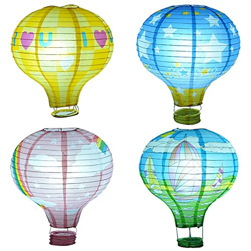Set of 5/10 Rainbow Hot Air Balloon paper lanterns Lights Christmas String Lights for Outdoor, Patio, Garden, Holiday, Party, Wedding(25cm) (5)