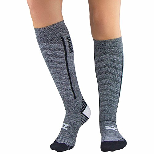 Zensah Featherweight Compression Socks - Ultra-Lightweight Compression Socks - Anti-blister, Graduated Compression (L, Heather Grey)