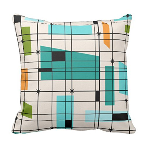 Decorative Pillow Modern (Emvency Throw Pillow Cover Teal Mid Retro Grid and Orange Century Decorative Pillow Case Home Decor Square 18 x 18 Inch Pillowcase)