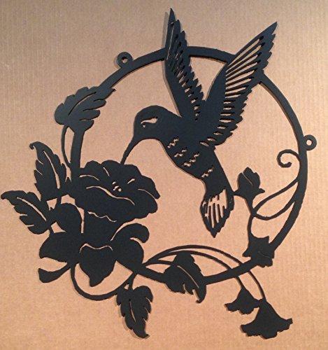 Large Hummingbird Flower Metal Wall Art 0