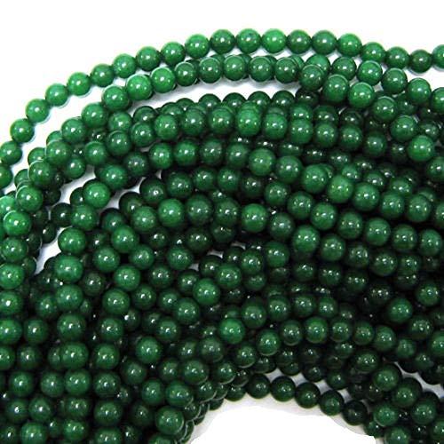 - Emerald Green Jade Round Beads Strand 15.5
