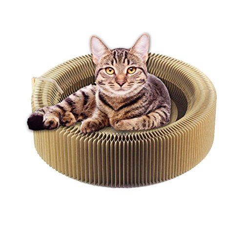 Vvesoase cat Scratcher bed- Cat scratching board scraping/rubbing collapsible scratched Round cardboard leisure bed by Vvesoase