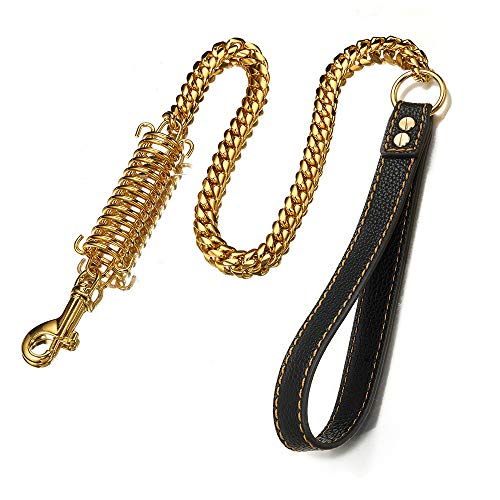 Aiyidi 1ft, 2ft, 3ft Strong Gold Metal Cuban Curb Link Chain 14mm Stainless Steel Dog Safety Leash Buffer Spring Labor-Saving Genuine Leather Handle Dog Leash (Gold,12inch)