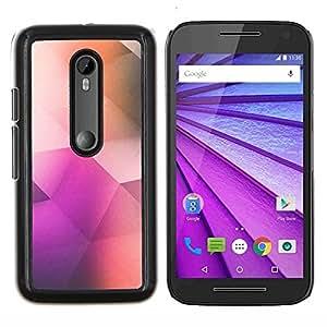 Caucho caso de Shell duro de la cubierta de accesorios de protección BY RAYDREAMMM - Motorola MOTO G3 3rd Gen - patrón de polígono arte poli de color púrpura